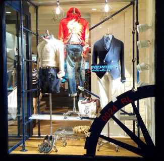 Ralph Lauren industrial style retail display