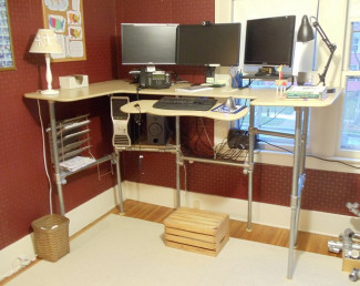 Glass topped standing desk
