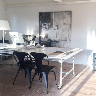 Long table for interior design studio