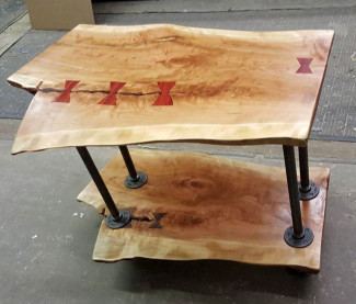 Wood slab record player table