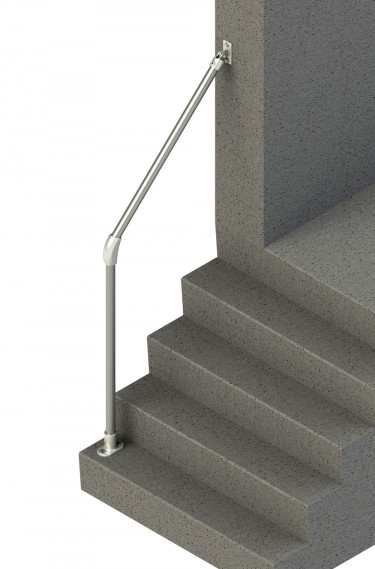 Wall-to-floor stair handrail for angles 20°-60° - Rounded end (SR-055C58)
