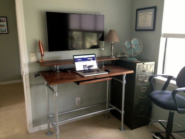 Standing Desk with a Back Shelf