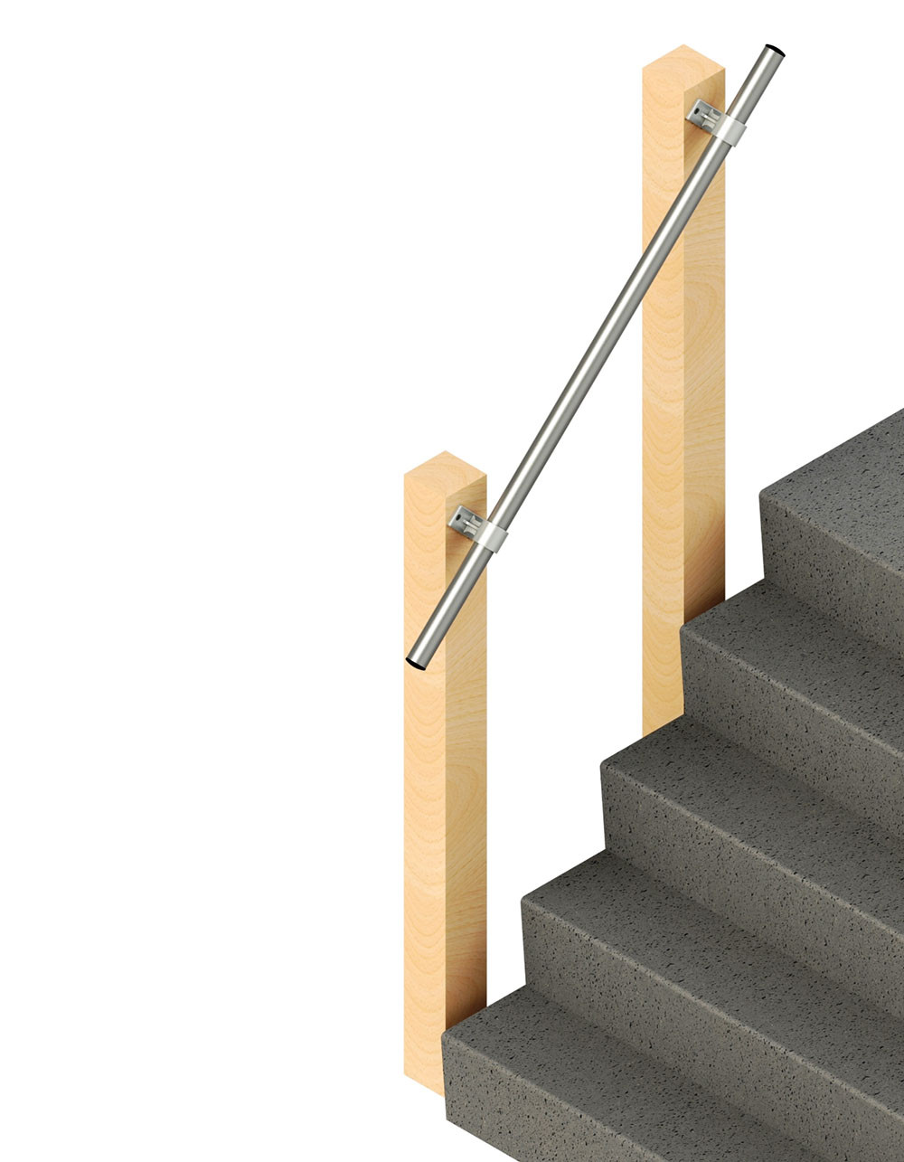 SR-070 Side Fixed Wall Mounted Stair Handrail, render 2