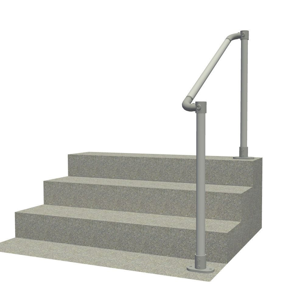 Floor mounted handrail with rounded ends, render