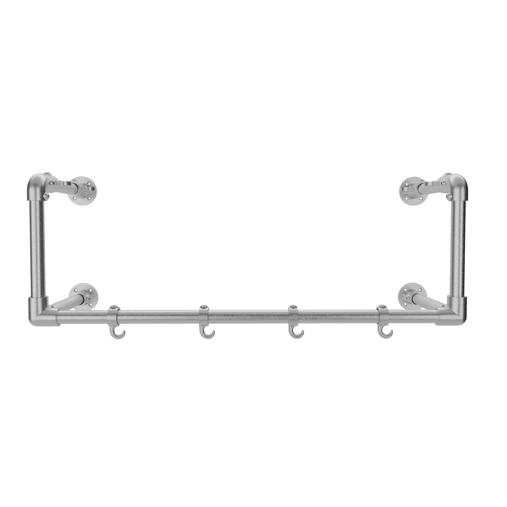 Wall mounted coat rack kit with 4 hooks