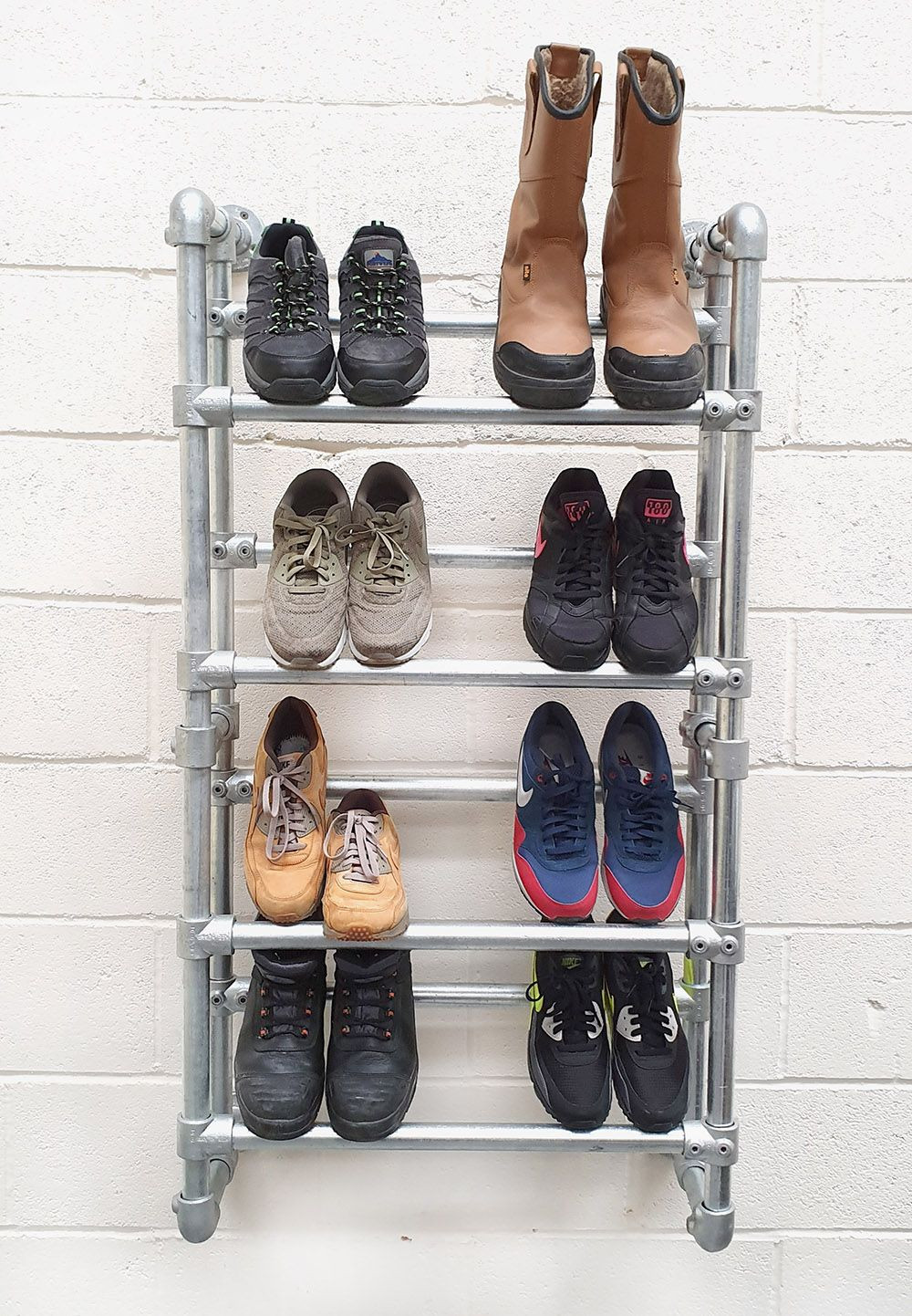 Industrial Heavy Duty Shoe Rack Wall Mounted Simplified Building