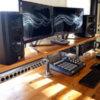 home recording studio esk with shelf
