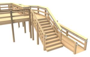 Deck mounted DDA railing
