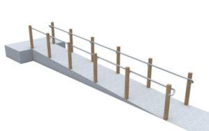 Post mounted DDA ramp railing
