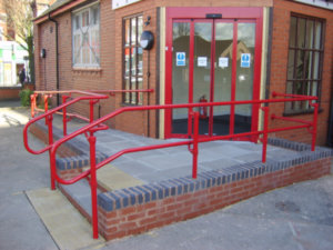 Powder-coated DDA railing (Red) - GP entrance
