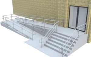 Top/mid/bottom DDA railing - Ramp & Stairs