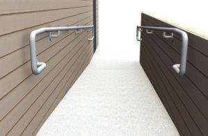 Wall mounted DDA ramp railing