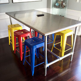 A tall kitchen / dinner table using the Standard frame