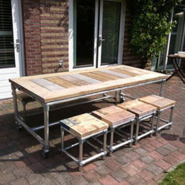 An indoor to outdoor dinner table using the Rugged frame