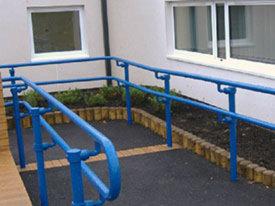Blue DDA handrail