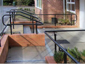 Black powder-coated DDA handrail