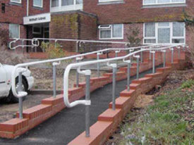 DDA handrail installed on a ramp