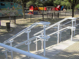 DDA handrail installed in a playground area