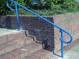 Blue powder-coated handrail