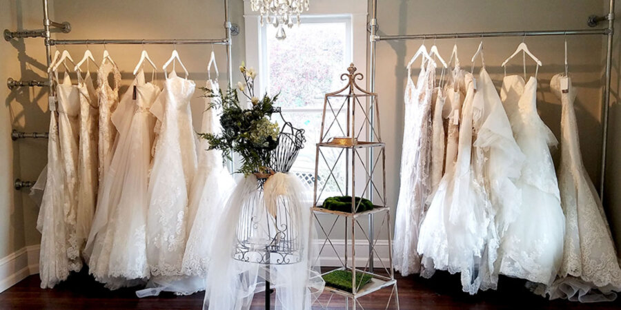 Clothing rails for bridal shops
