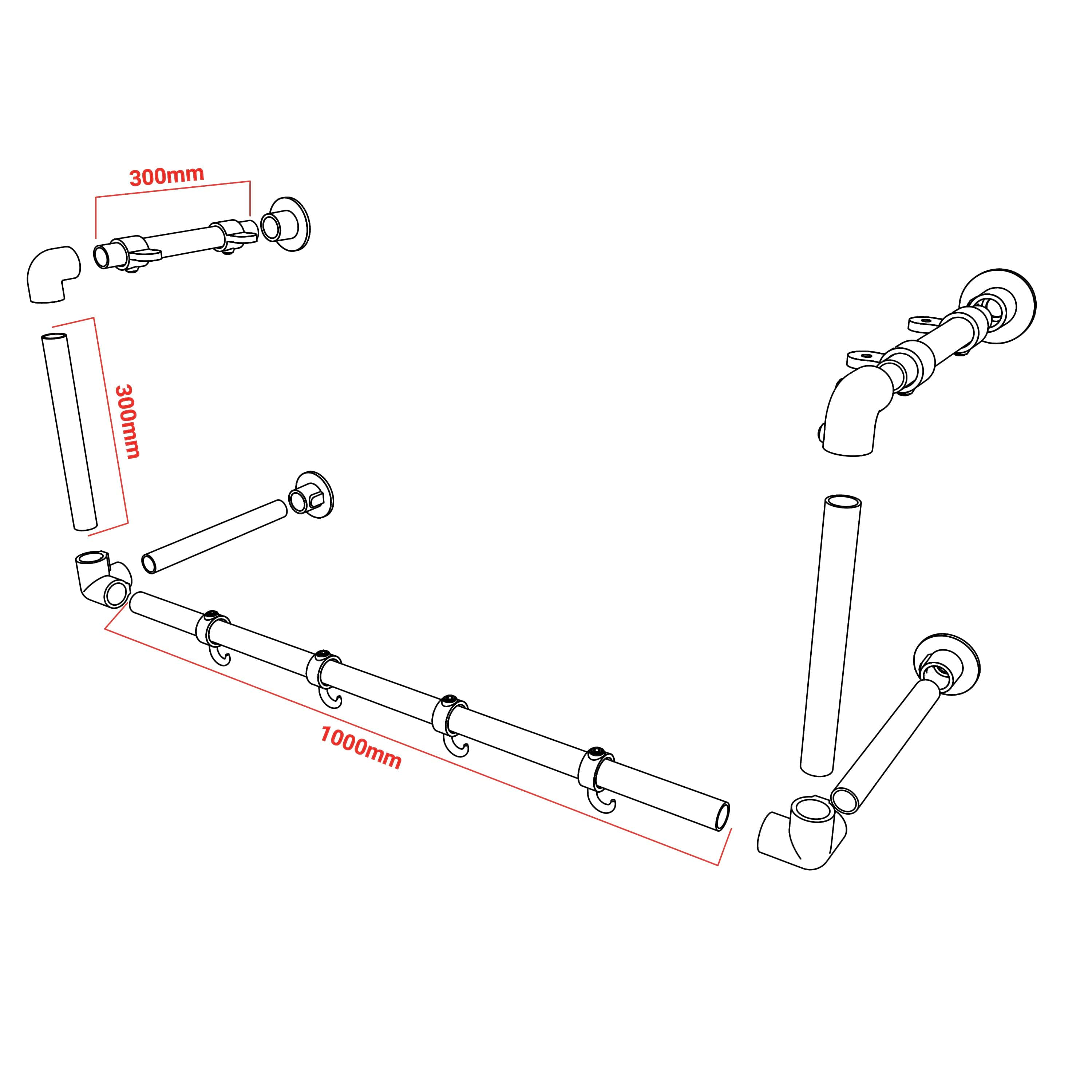 wall mounted clothing rack with hooks dimensions