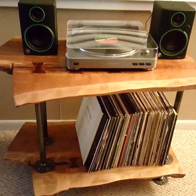 Diy Inspiration Wood Slab Record Player Table