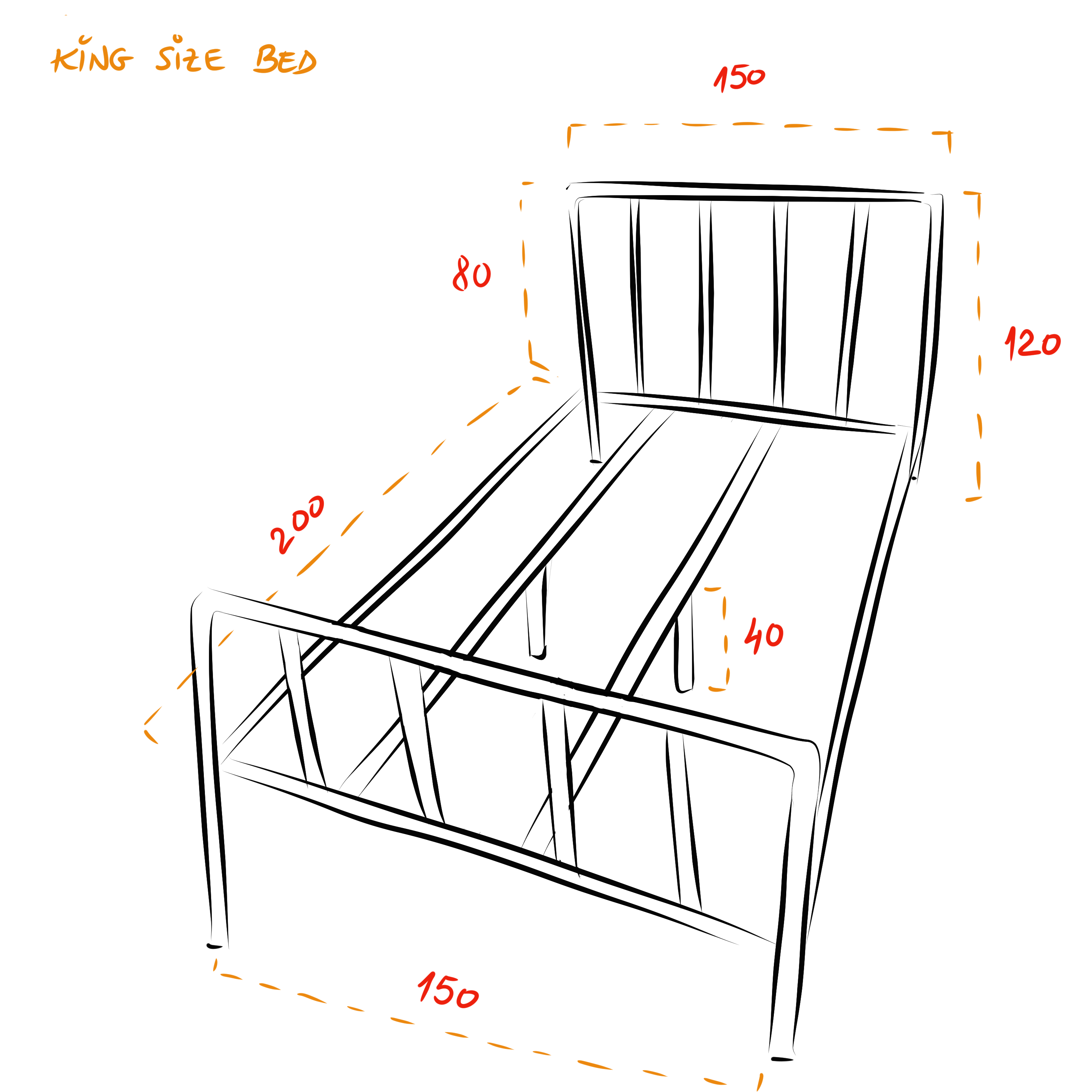 Camden industrial bed frame - King size