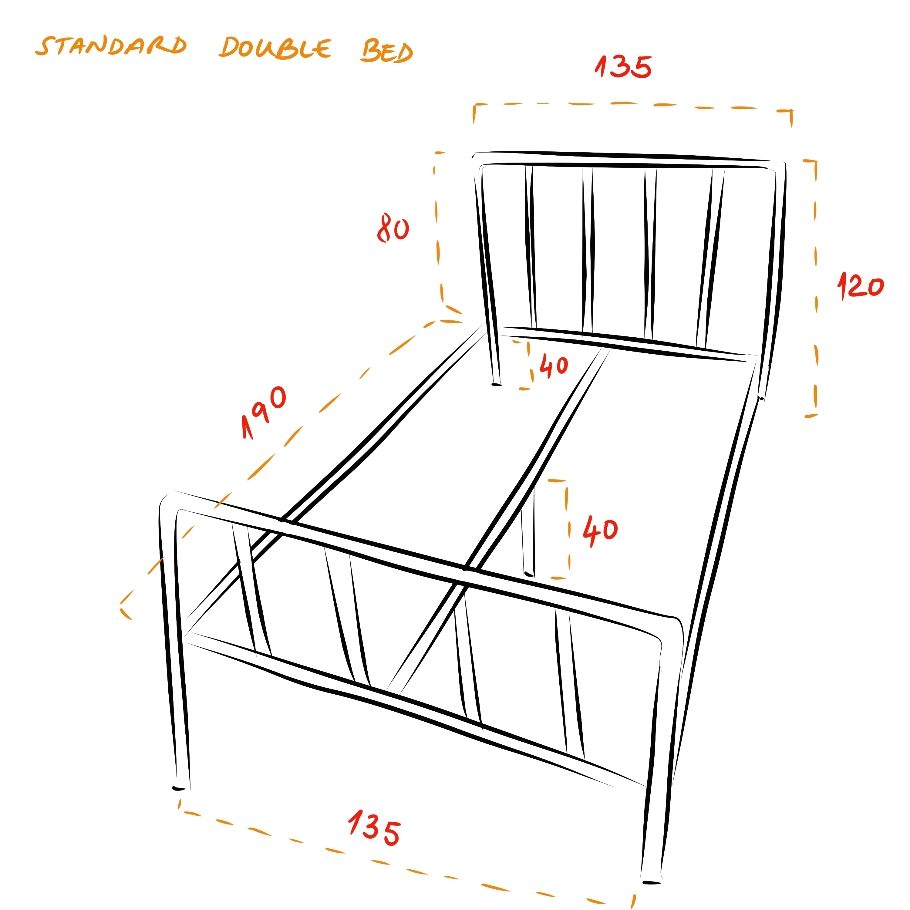 Camden industrial bed frame - Standard double