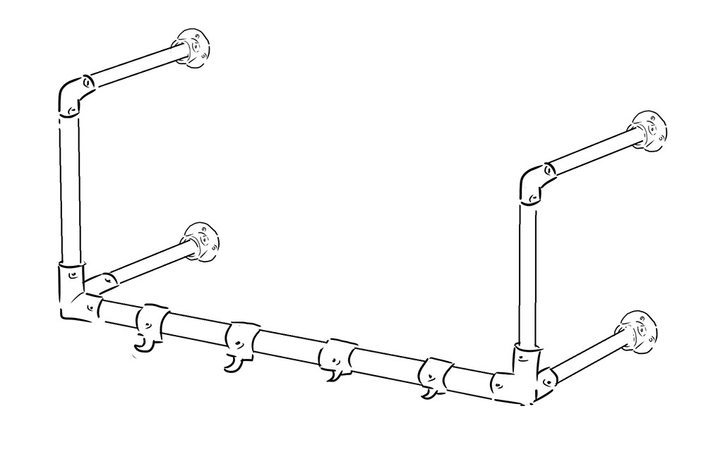 Wall mounted coat rack with hooks