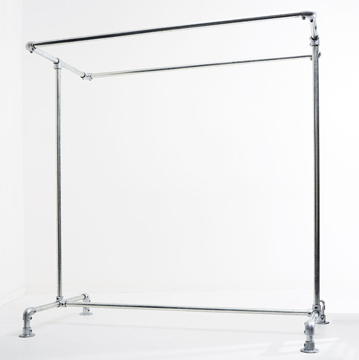 industrial style freestanding clothing rail with a double rail