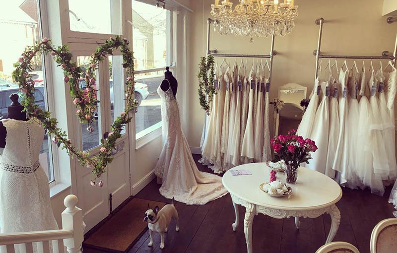 Wall mounted Clothing Rails for bridal boutiques