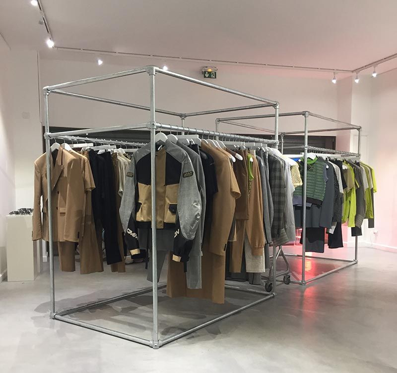 cubic clothing rail used in a Paris boutique