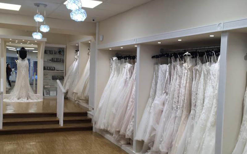 Custom hanging rails for bridal boutique