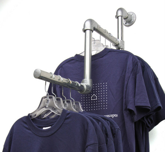 wall mounted clothing rail for shop