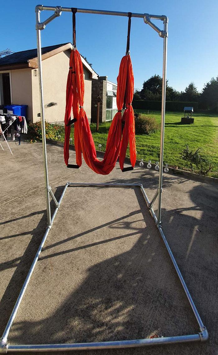 DIY yoga trapeze frame