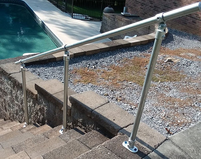 custom adjustable angle metal handrail for stairs