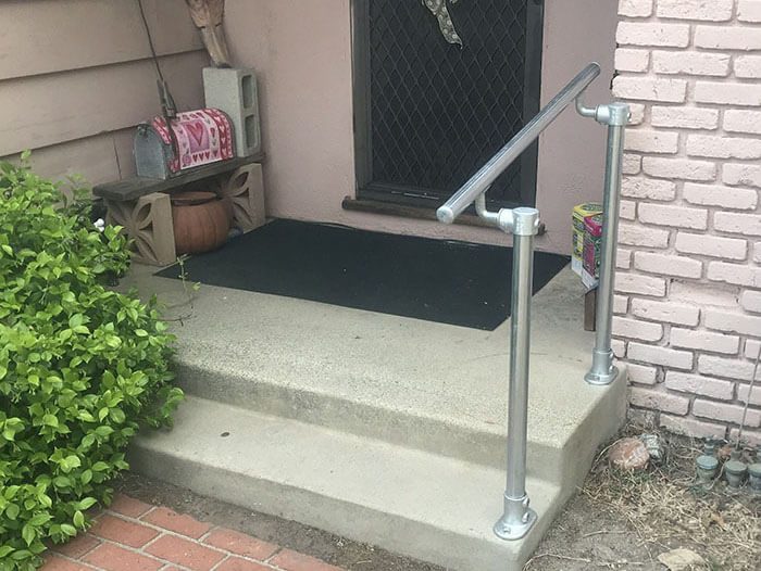 handrail kit on two steps for outdoor use