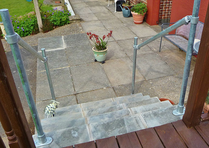 concrete decking and steel handrail