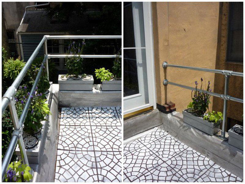 steel handrail for roof terrace