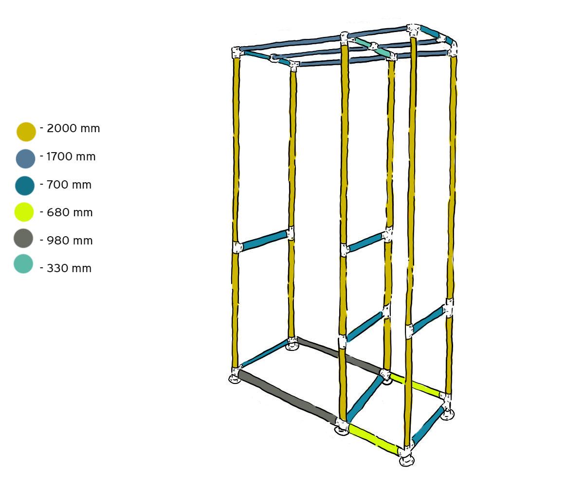 freestanding open wardrobe system measurements