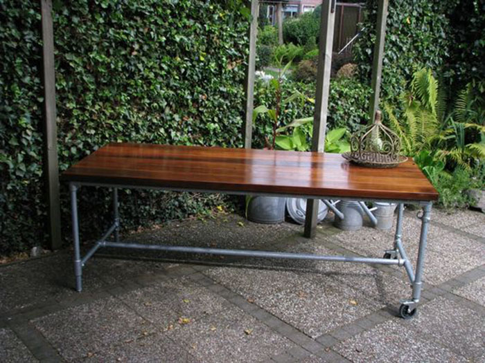 Outdoor dining table made of steel