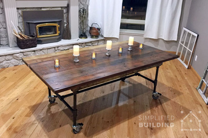 Rustic dining table frame on castors